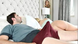 Horny Step Mom Helps Her Son Deal With Morning Wood Beside Sleeping Daughter - Father'_ Day..
