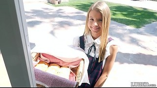 She looks so innocent and cute selling cookies in her little dress...gets fucked hard and takes a..