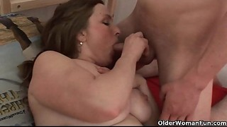 Chubby, Cumshot, Fucking, Grannies, Mature, MILF, Old and young, Stepmom