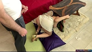 Nagging mother-in-law wants stepson to clean but gets stuck and fucked instead - Erin Electra